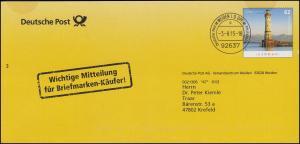 Plusbrief Leuchtturm Lindau: Mitteilung für Briefmarken-Käufer! WEIDEN 3.8.15