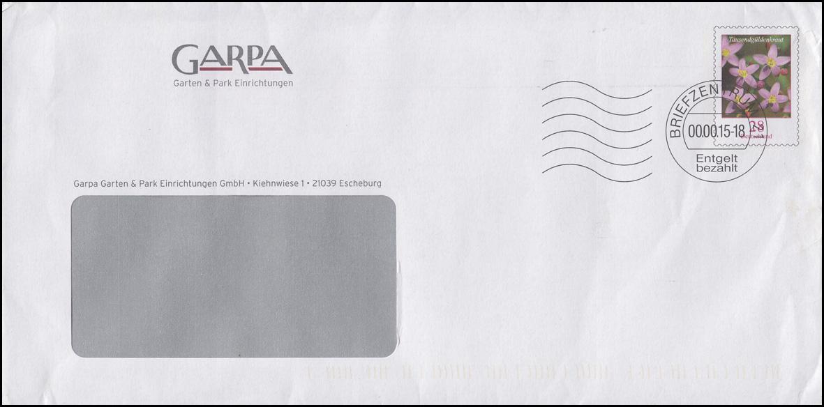 Plusbrief Blume Tausendgüldenkraut 28 C. GARPA BZ 21 - 2015 mit OS in Aussparung 0