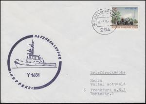 Schiffspost Hafenschlepper Y 1681 HEPPENS, EF Brief WILHEMSHAVEN 16.2.73