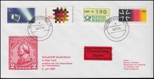 Marineschiffspost 56 a 4.7.1986 vom Schulschiff DEUTSCHLAND in New York Bf. MiF