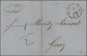 Preußen Brief von Gera 2.6.1864 nach Greiz
