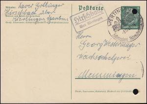 Landpost Hirschbach über Wertingen auf Postkarte P 226I, SSt WERTINGEN 3.12.41