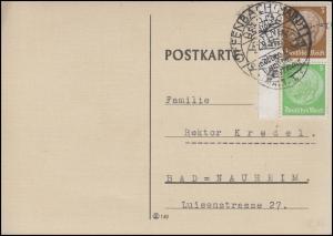 Rand-Zusammendruck S 127 Hindenburg 3+5 Pf. Postkarte SSt OFFENBACH 21.9.37