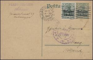 Belgien Postkarte P 1 + Zusatzfr. Zensur Aachen ANTWERPEN 16.12.15 nach Den Haag