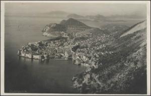 Ansichtskarte Dubrovnik/Kroatien: Panorama auf Stadt und Meer, Dubrovnik 7.4.36