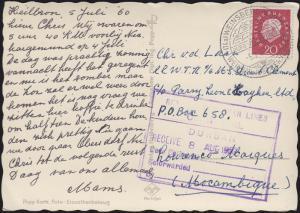 Ansichtskarte Heidelberg, SSt WEINSBERG 5.7.60 nach Mocambique über Durban