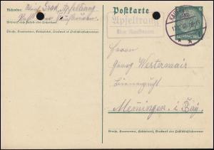 Landpost Apfeltrang über KAUFBEUREN (LAND) 12.12.35 auf Postkarte P 226I