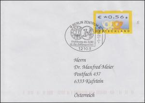 ATM 4 Postemblem mit Nummer 1345 EF FDC SSt BERLIN Einführung des Euro 1.1.2002