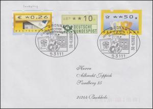 ATM 5.2. Samkyung in ATM-MiF 1 und 4 auf Brief SSt Bonn Abschied 30.6.2002