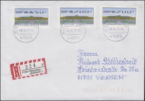 ATM 2.2.1X Sanssouci 50+200+200 Pf. Teildruck auf R-Brief Mönchengladbach 4.4.97