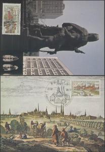 3030-31 Briefmarkenausstellung Berlin 1986 - Satz auf Wermsdorf-Maximumkarten