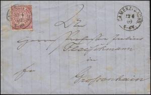 Norddeutscher Bund 1 Gr. EF Brief Einkreis CAMENZ / KAMENZ 12.4.69 n. Großenhain