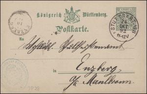 Dienstpostkarte DP 28 Amtlicher Verkehr STUTTGART Nr. 8 - 24.10.92 n. ENZBERG