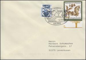 2086 Bedrohte Tierarten Fledermäuse, MiF FDC ESSt St. Ingbert Fledermaus 4.11.99