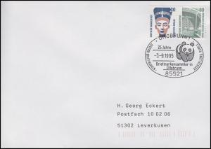 ZD W 95 auf Brief SSt Ottobrunn Briefmarkenausstellung & Pandabär 3.9.1995