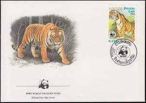 WWF World Wildlife Laos Indischer Tiger 1984, 2 Schmuck-FDC von 1984