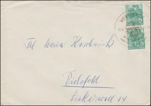 704 Fünfjahrplan 10 Pf. senkr. Paar MeF Bf. SSt WERNIGERODE 12.6.61 n. Bielefeld