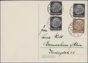 Hindenburg-Zusammendruck S 115 mit Zusatzfrankatur, Postkarte ERFURT 29.4.1935