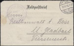 Feldpost-Kartenbrief Fernsprech-Abt. FELDPOST c - VII. Reservekorps 17.11.15