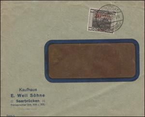 74A Landschaft mit Aufdruck EF Fensterbrief Kaufhaus Weil SAARBRÜCKEN 31.10.1921