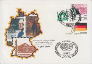 3346 Bauwerke mit Berlin-Bund-Marken Schmuck-FDC passender ESSt Bonn 2.7.1990