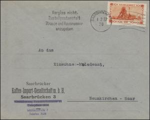 Saargebiet 143 Förderschachtanlage EF auf Brief Kaffee SAARBRÜCKEN 2 - 1.2.1932