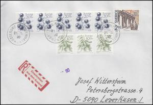 Schweden: Europa/Cept - Postmuseum 1990 mit Zufr. Früchte 1983, R-Brief 21.8.90