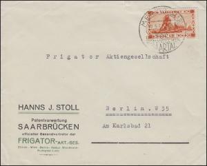 Saargebiet 143 Förderschachtanlage EF Brief Patentverwertung SSt MERZIG 22.5.31