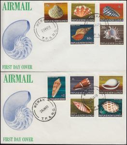 Papua Neu Guinea Muscheln Shellfish Soquillages 10 Werte auf 2 Schmuck-FDC 1968