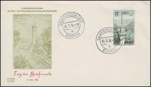 369 Tag der Briefmarke 1956 auf LBS-Schmuck-FDC Saarbrücken Ersttag 2 b - 6.5.56