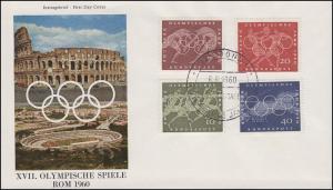 332-335 Olympiade Rom 1960 - Satz auf Schmuck-FDC ESSt Bonn 8.8.1960