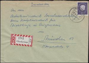 306 Heuss 70 Pf. EF auf R-Brief OBERKOTZAU 27.4.1960 nach München / Flüchtlinge