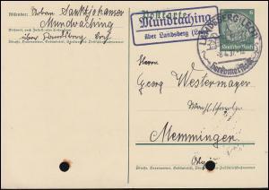 Landpost Mundraching über Landsberg 2 auf Postkarte P 226I, SSt LANDSBERG 8.4.37