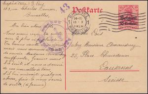 Belgien Postkarte P 2 Germania mit Zensur Auslandsstelle Aachen BRÜSSEL 18.10.18