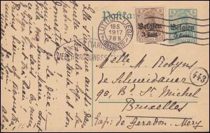 Belgien Postkarte P 6 mit Zusatzfr. 11 Germania 3 Pf. mit Zensur LÜTTICH 18.5.17