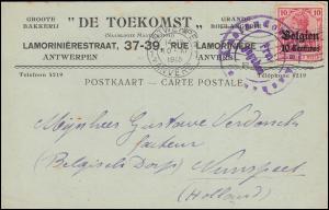 Zensur Auslandsstelle Aachen Postkarte ANTWERPEN 10.11.15 nach Holland