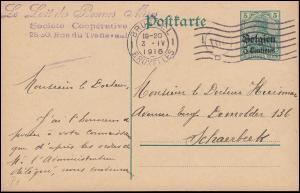 Belgien Postkarte P 1  von BRÜSSEL 3.4.1916 nach Magdeburg nach Schaerbeek