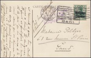 Zensur Postprüfungsstelle 10.2.1916 Etappeninspektion Gent auf Postkarte EF 2