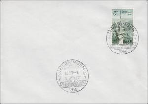 369 Tag der Briefmarke, Blanko-FDC ESSt HILBRINGEN über Merzig / Posthorn 6.5.56