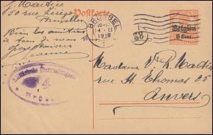Zensur Belgien Postkarte P 10II von BRÜSSEL 14.2.1918 mit Nummer 38 nach Anvers