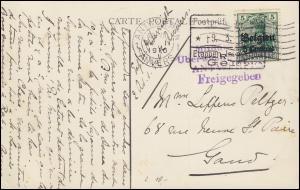 Zensur Postprüfungsstelle 9.3.16 Etappeninspektion Gent, Postkarte EF 2 Germania