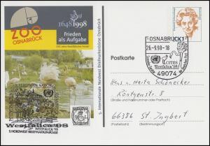 Privat-Postkarte Zoo Osnabrück, SSt Ostnabrück Flamingos & Westfalica 26.9.1998