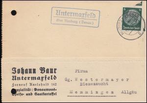 Landpost Untermaxfeld über NEUBURG (DONAU) 30.1.42 auf Postkarte EF 6 Pf.