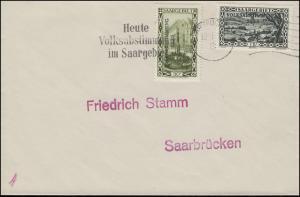 180+183 Volksabstimmung, Spationierung 193_5, Bf. Werbe-O SAARBRÜCKEN 13.1.35