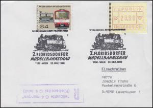 Floridsdorfer Modellbahnschau Not-R-Stempel Klebezettel fehlt SSt Wien 22.12.90