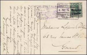 Zensur Postprüfungsstelle 10.3.16 Etappeninspektion Gent auf Postkarte mit EF 2