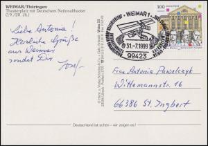 2028 Weimar, AK Nationaltheater, SSt Weimar Kulturstadt Europas Satellit 31.7.99