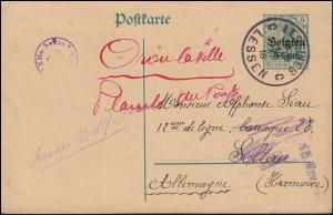 Belgien Postkarte P 9II Germania LESSINES / LESSEN 10.11.16 nach Soltau