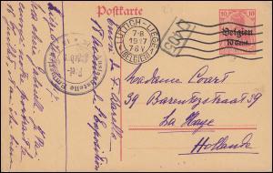 Belgien Postkarte P 11I Germania Zensur Auslandsstelle Emmerich LÜTTICH 7.8.17