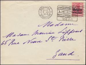 Zensur Postprüfungsstelle 6.7.1915 Etappen-Inspektion Gent Brief mit 3 als EF